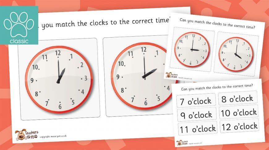 time matching o'clock game