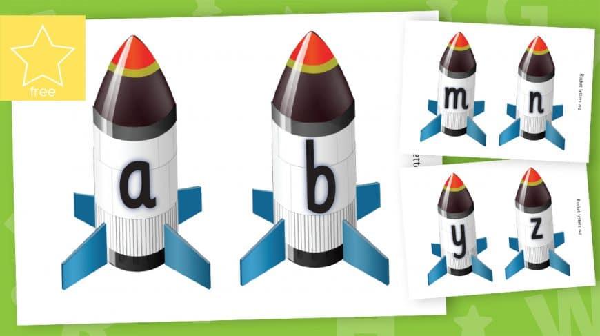 medium lower case alphabet rockets