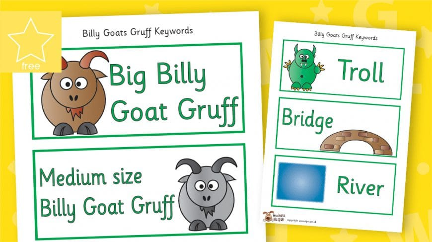 three billy goats gruff story labels