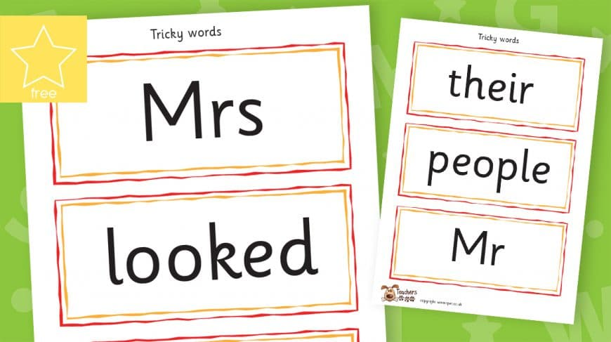 tricky word phonic spellings labels