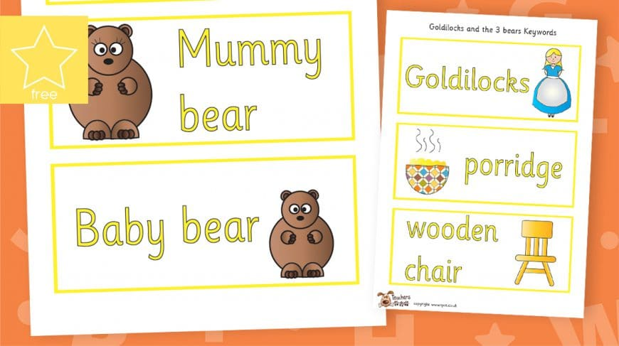 goldilocks and the three bears labels