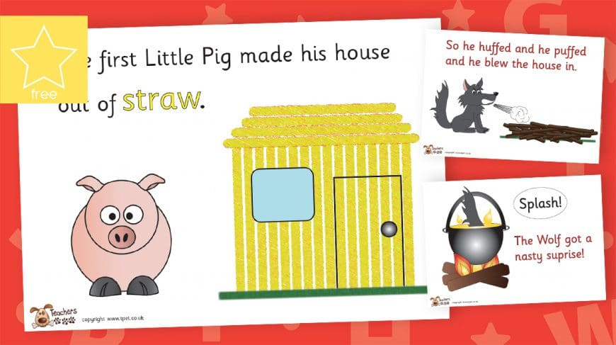 the three little pigs story posters