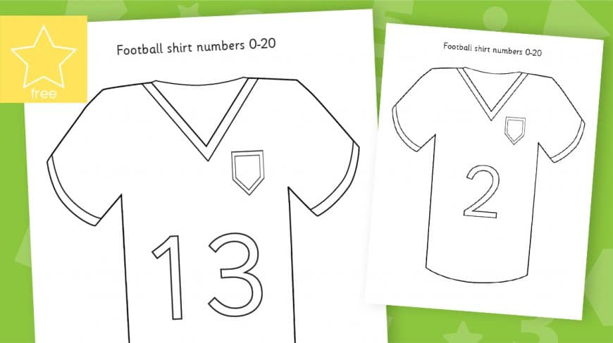 football shirts blank numbers counting to 20
