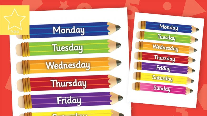 days of the week pencils