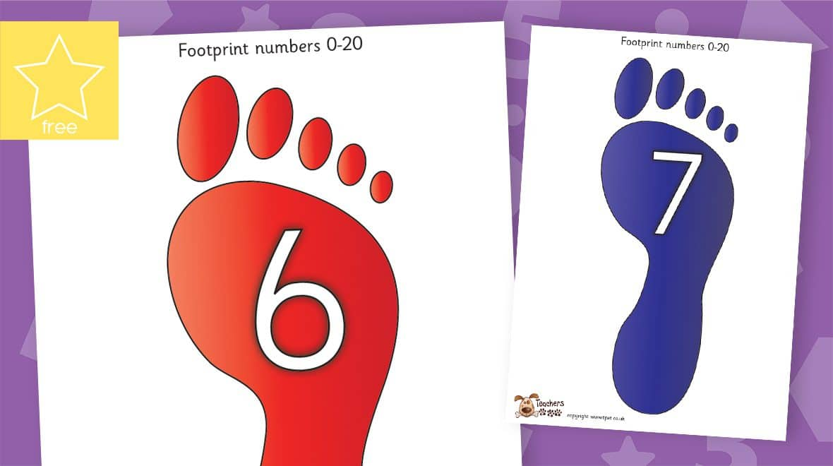 odd and even footprint numbers counting to 20