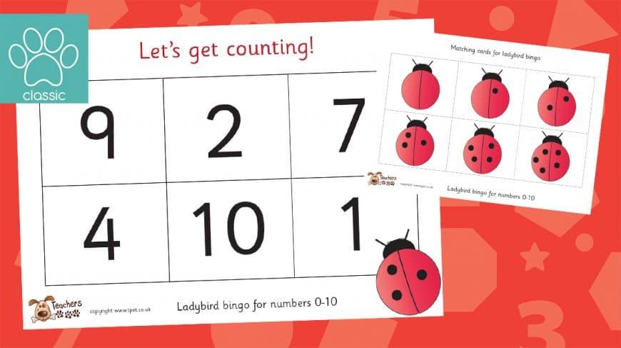 ladybird counting to 10 bingo