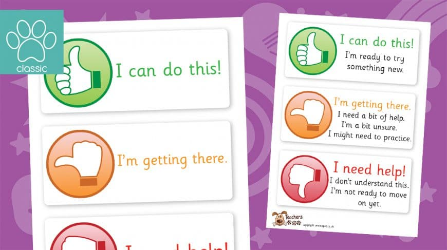 thumbs up assessment labels