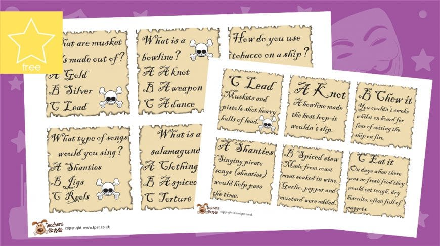 pirate quiz question cards