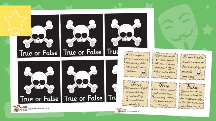 pirate true or false cards