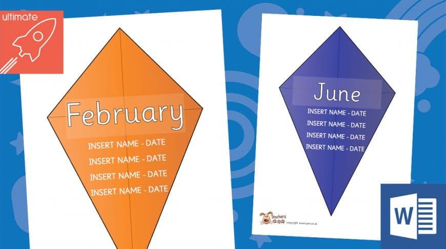 editable classroom birthday kites