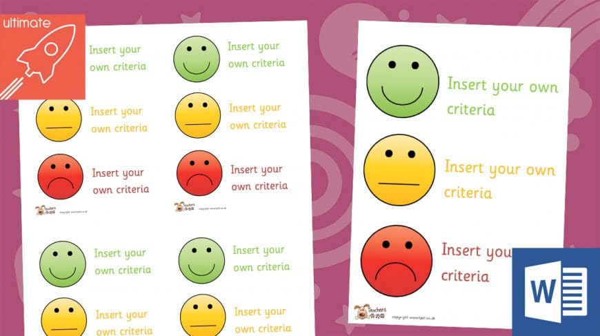 editable smiley face assessment posters