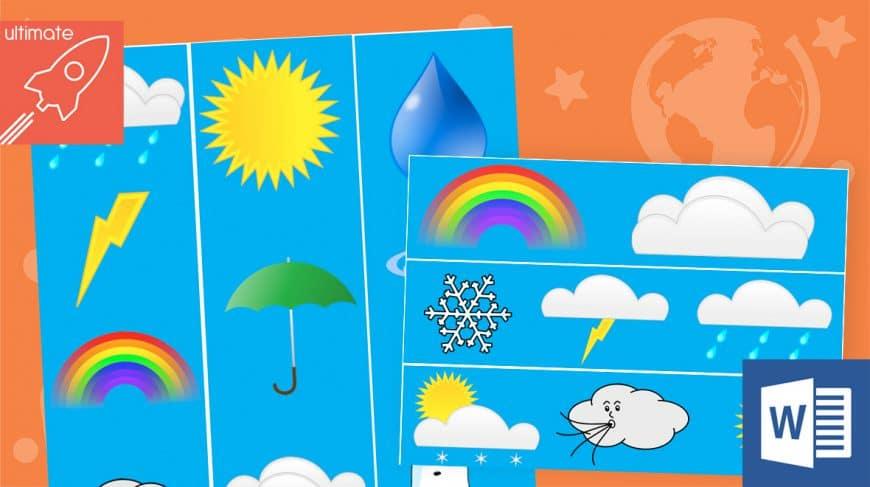 editable classroom display weather borders