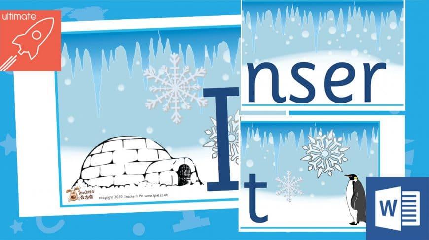 editable classroom display winter banner