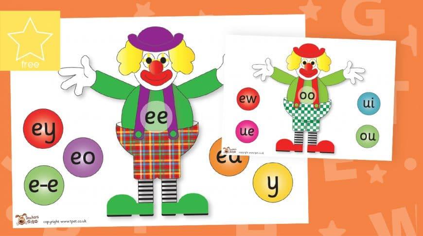 phonics alternative spellings clowns