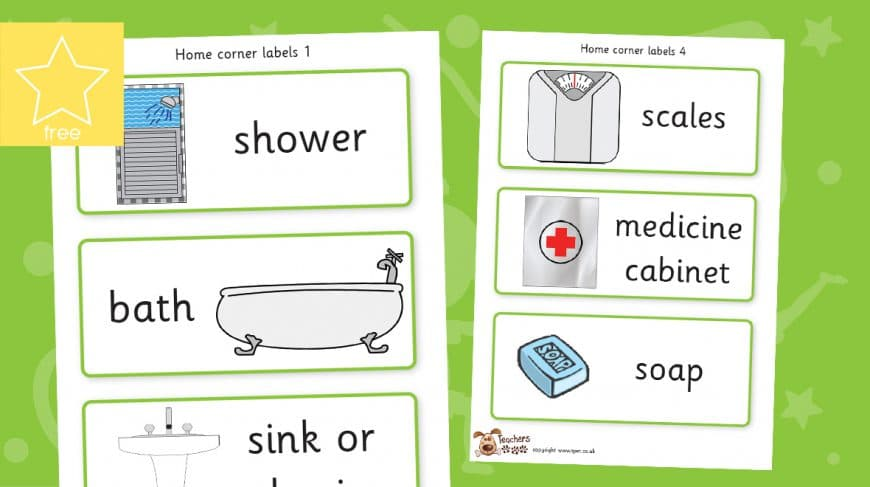 role play home corner labels bathroom