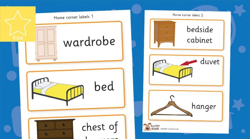 role play home corner labels bedroom