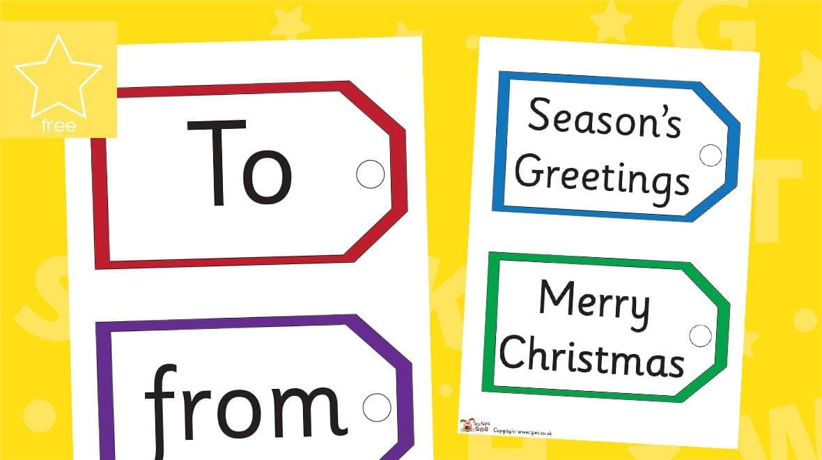 Christmas card word tags