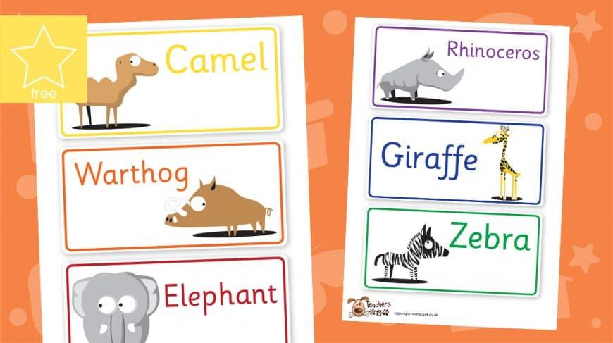 African cartoon animal labels