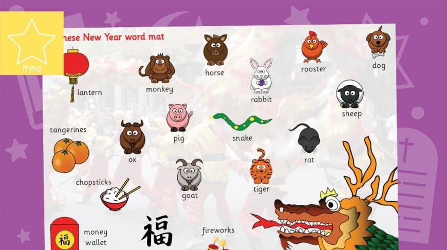 chinese new year word mat