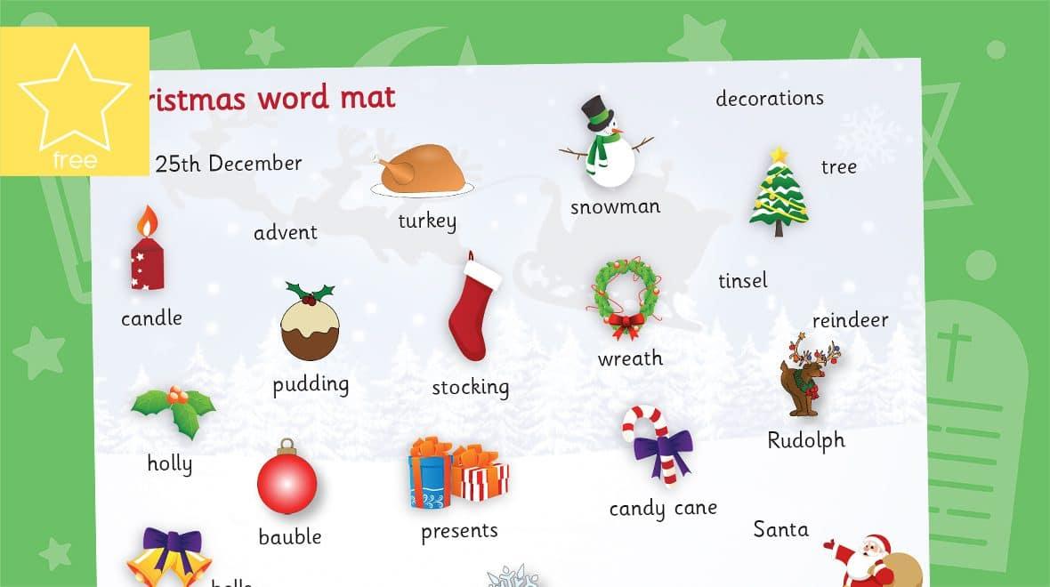christmas word mat