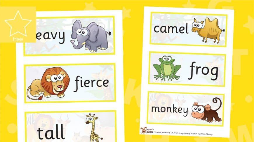 dear zoo word labels
