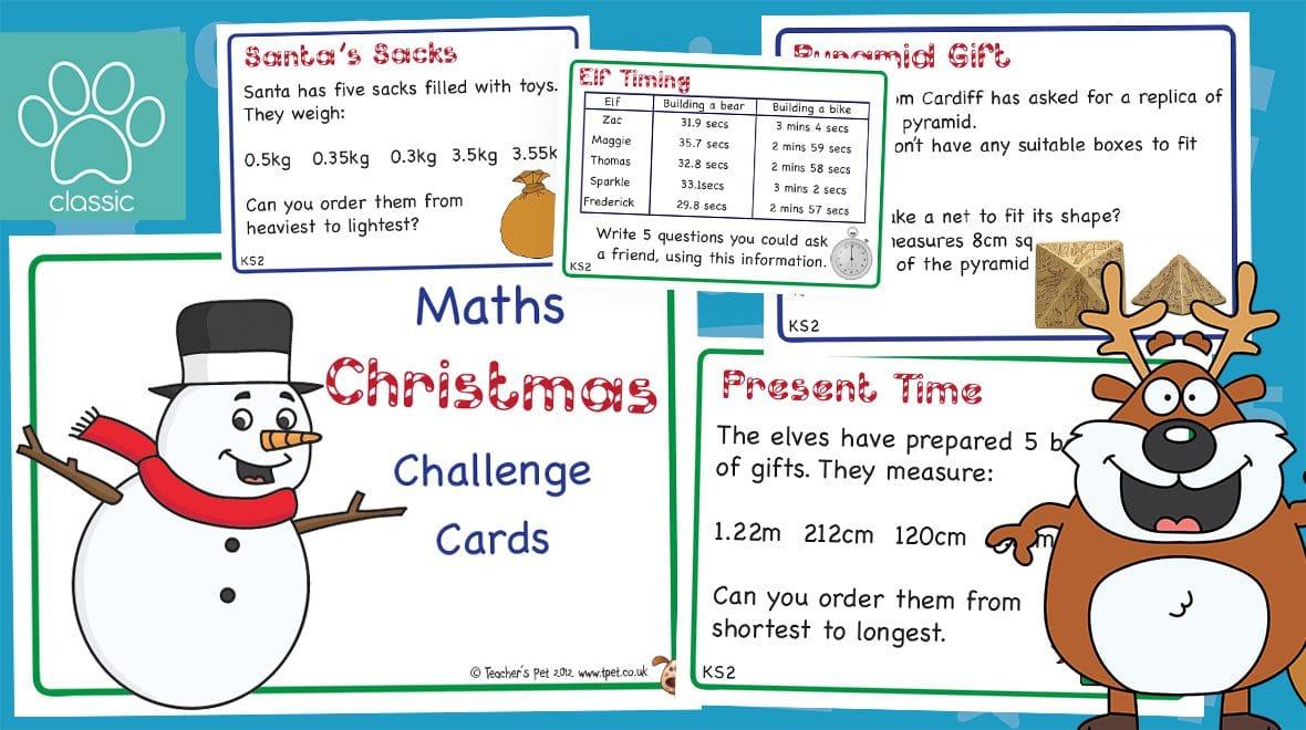 Snowman Christmas Cards Ks2.Teacher S Pet Christmas Ks2 Maths Challenge Cards