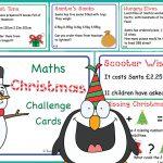 Editable KS2 Christmas Maths Challenge Cards