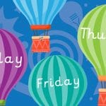 Hot Air Balloon Days of the Week (choice of fonts)